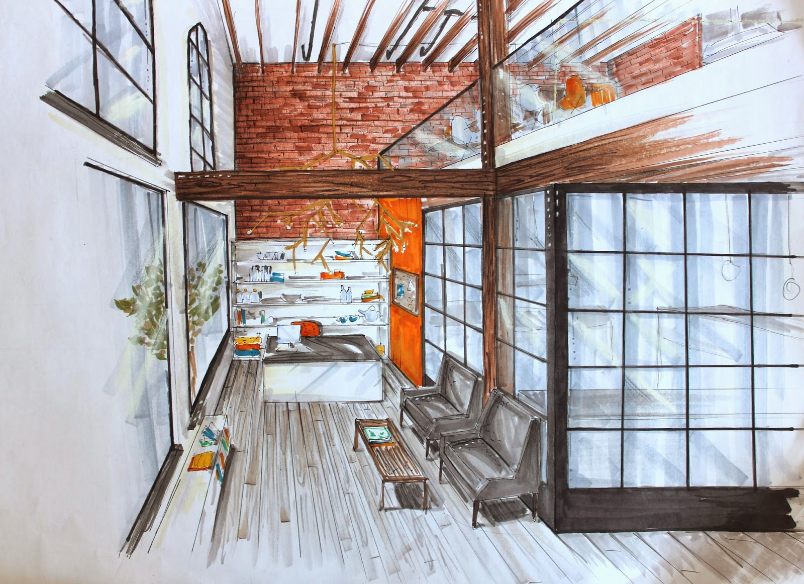 Evolution Of A Drawing Modern Industrial Reception Area