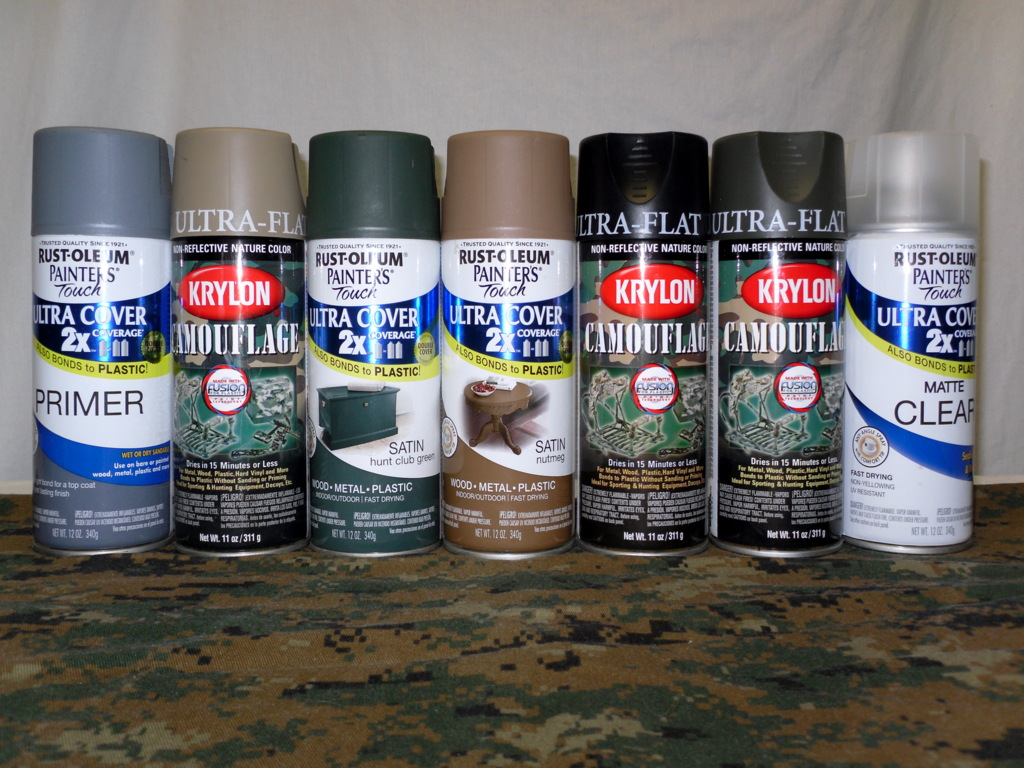 i ended up buying a mix of krylon and rust oleum paints which are a very close match for the usmc woodland marpat colors see figure a below - Camo Paint Colors