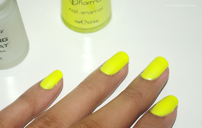 Mattifying nail polish and neon yellow nail polish