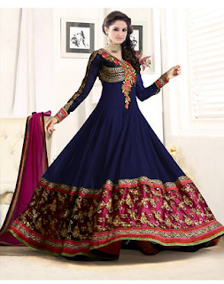 Dealfiza Blue Georgette Semi Stitched Suit Just for 485/-