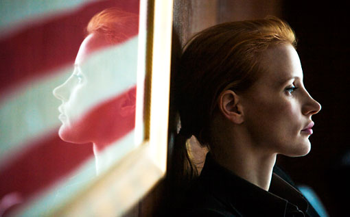 Chastain Zero Dark Thirty american flag reflection