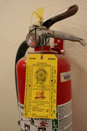 Fire extinguisher date tags