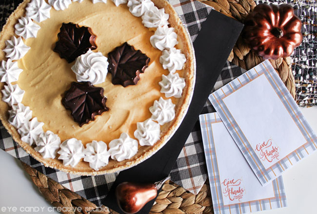 sugar & spice cold stone pie, thanksgiving dessert idea, free give thanks cards