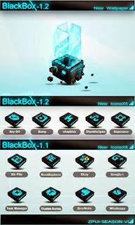 Screenshots of the Blackbox GO Launcher EX for Android mobile, tablet, and Smartphone.