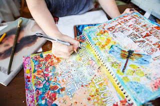 art journal ideas, inspiration and pages on http://schulmanart.blogspot.com/2016/01/top-5-reasons-why-you-art-journal.html