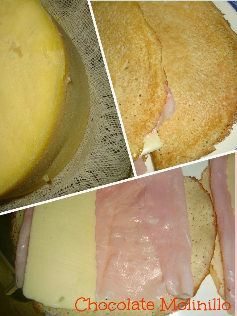 Crepas rellenas de jamón, queso y crema