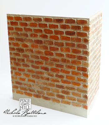 Miniature brick wall texture on corner diorama - Nichola Battilana