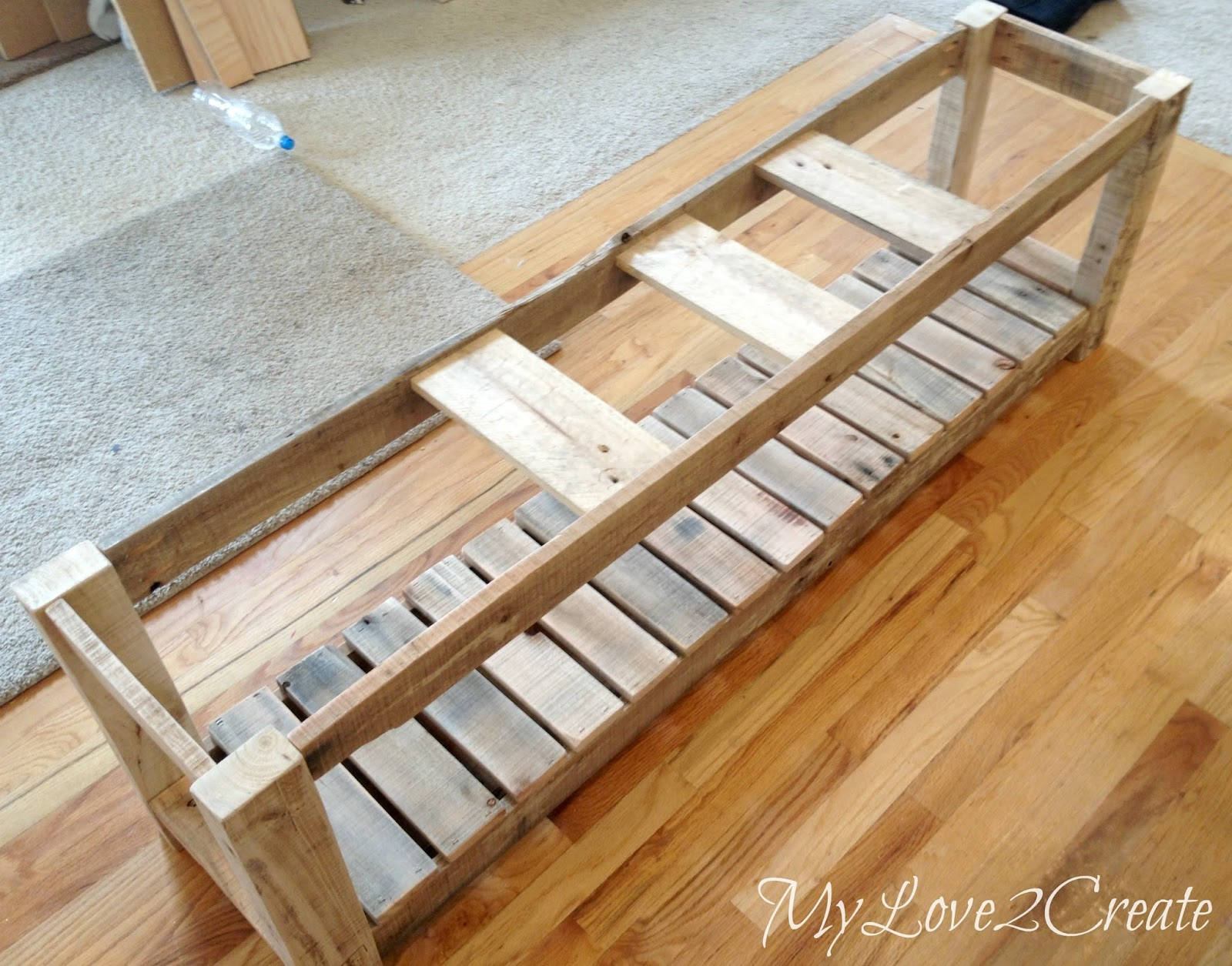 Nail on pallet wood slats for bench shelf