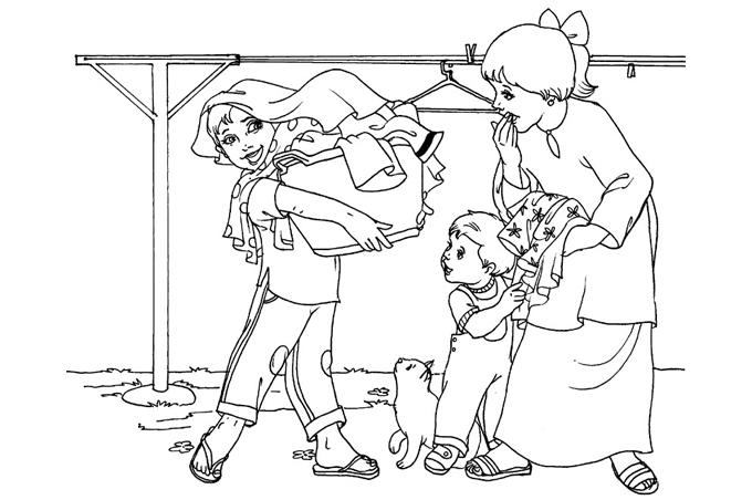 صورة اطفال يساعدون امهم في جمع الغسيل لتلوين