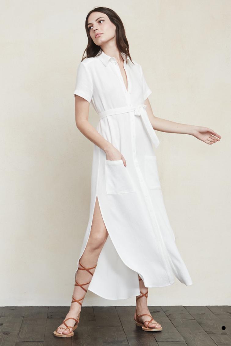 Reformation white dress, gladiator high top
