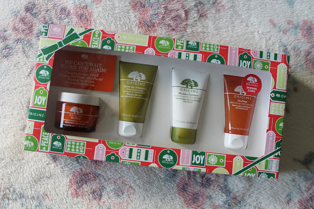 What I Got For Christmas: Beauty Edition Origins Shining Stars GinZing Moisturiser, Drink Up Intensive Overnight Mask Modern Friction Scrub Ginzing Cleanser