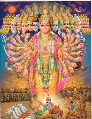 "Hindu God Vishnu with his many ""faces"" and ""hands"""