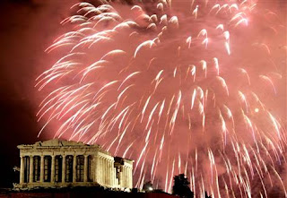 New Year 2012 Eve Celebrations in Athens, Firworks above Acropolis-Travel Europe Guide