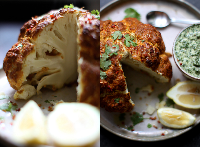 Whole Roasted Tandoori Cauliflower with Mint Chutney - My New Roots