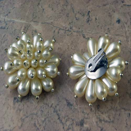 big faux pearl clip on earrings