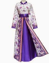 Baju Gamis pesta Muslim batik kombinasi
