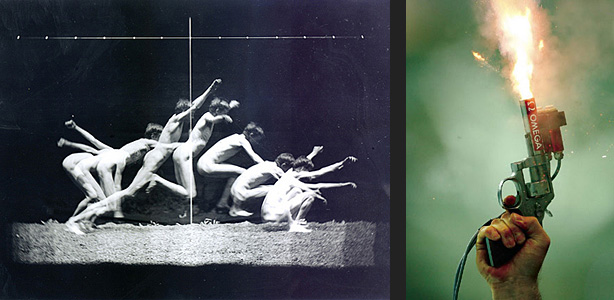 Muybridge study and Olympic starting pistol in slow motion