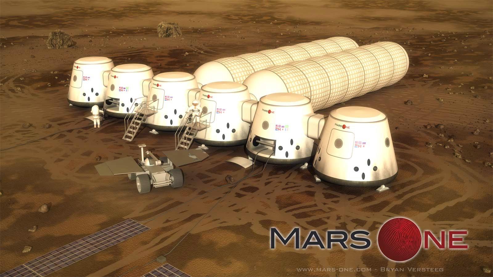 Imagen conceptual de las futuras colonias en Marte