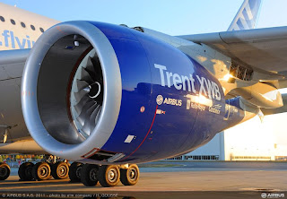 Rolls Royce Trent XWB Turbofan mounted on the Airbus A380 flying test bed.