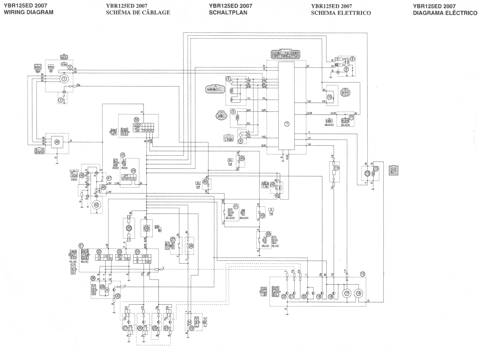 headlamp wiring diagram with Yamaha Ybr 125 Electrical System Wiring on 1986 Nissan 300zx Wiring Harness also Yamaha Ybr 125 Electrical System Wiring together with T14843434 Witch relay works headlights 98 ford as well Schematics i together with 7 Pin Trailer Harness.