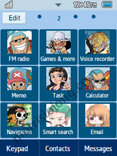 One Piece Anime Chibi Samsung Corby 2 Theme Menu