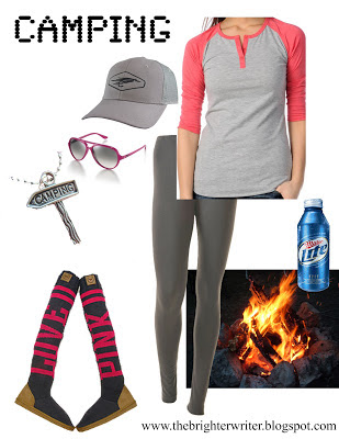 camping outfit 1: sweater boots, leggings, baseball shirt, hat www.thebrighterwriter.blogspot.com