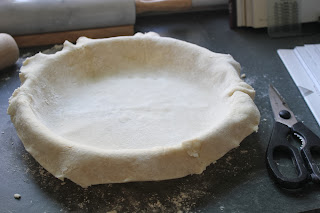 Pie dough lining pie plate