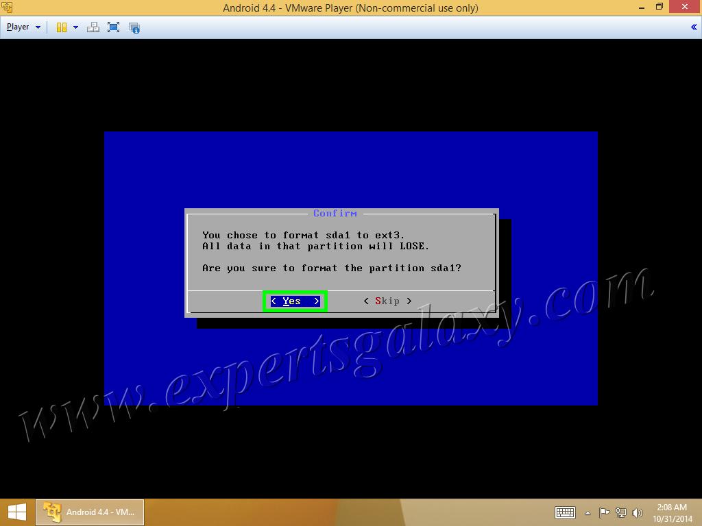 Format Partition Confirm Message