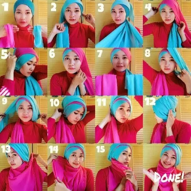 Cara memakai Hijab Paris Dua lapis warna