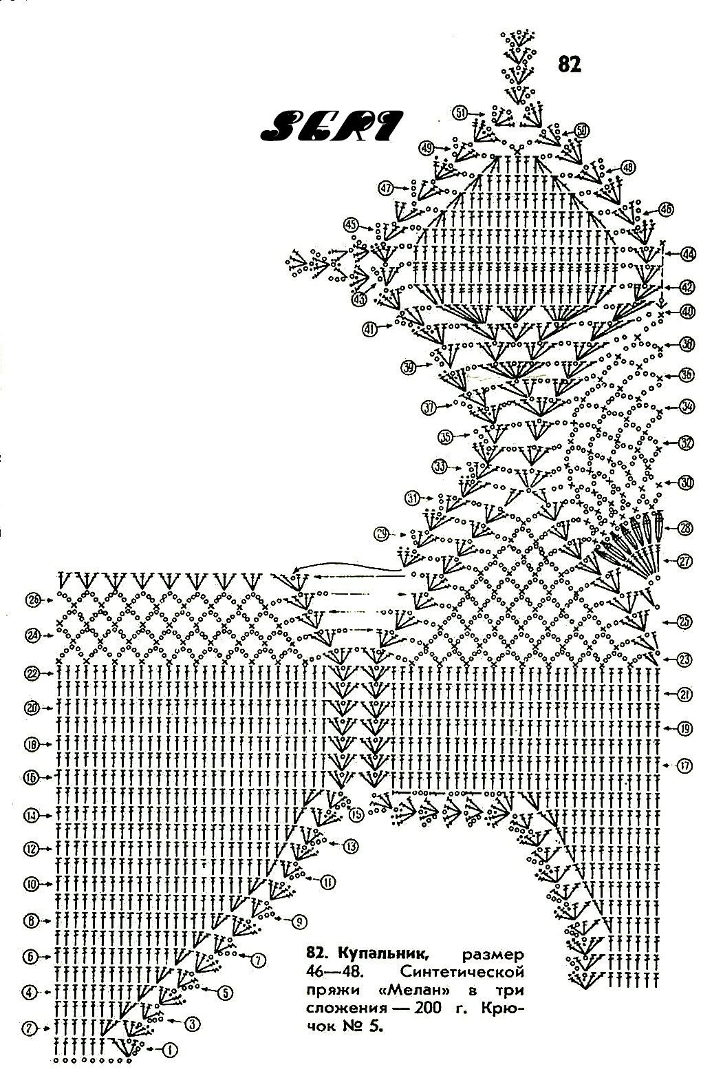 Схема купальника с ананасами крючком