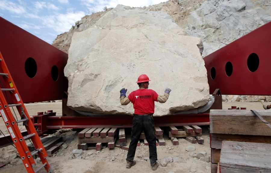 the rock of Michael Heizer's Levitated Mass before it was moved to Los Angeles