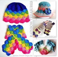 crochet patterns, how to crochet, rainbow patterns, hat, scarf, mittens, sun hat,