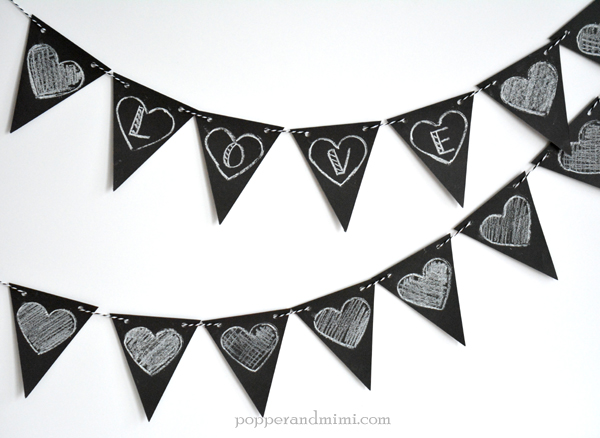 Custom Valentine's Day chalkboard heart banner made with @target #OneSpotValentine goodies by @americancrafts