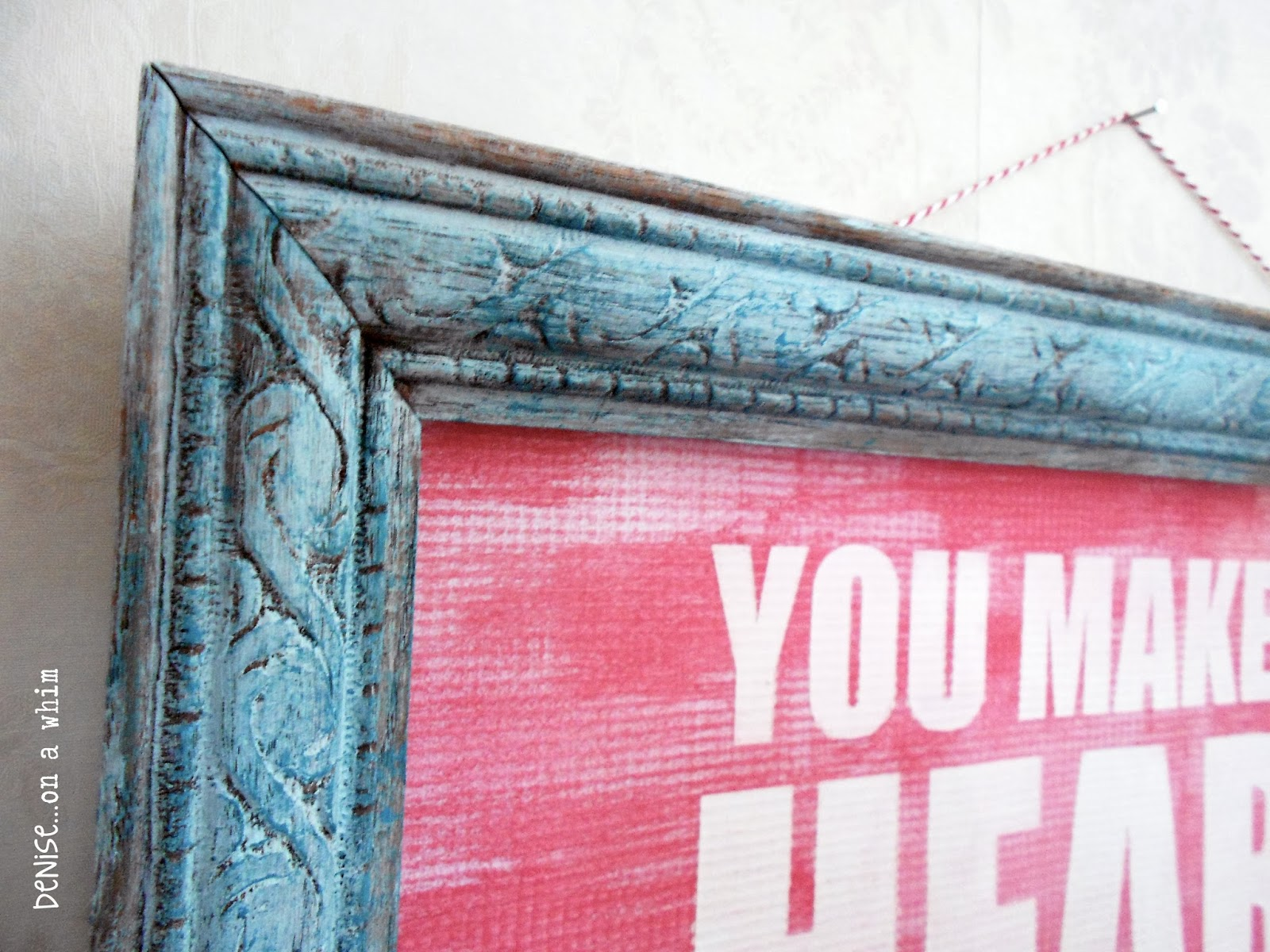Red and Teal Valentine Sign via http://deniseonawhim.blogspot.com