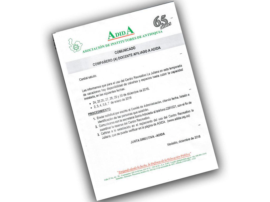 Compañero (a) docente afiliado (a) ADIDA