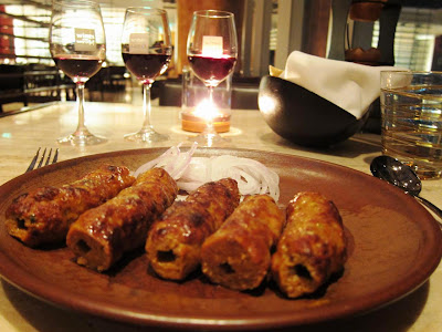 Sheek Kababs with wine at Kangan Mumbai