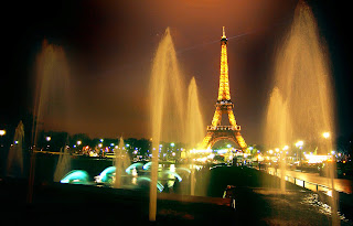 Eiffel Tower Night View Pools HD Wallpaper