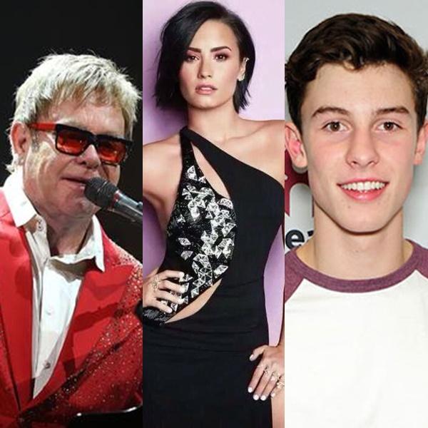 Elton John, Demi Lovato y Shawn Mendes rinden tributo a David Bowie juntos.