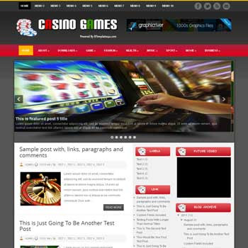 Casino Games blogger template. download casino and poker games template for blogger