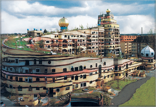 Forest Spiral Hundertwasser Building on parking garage facade
