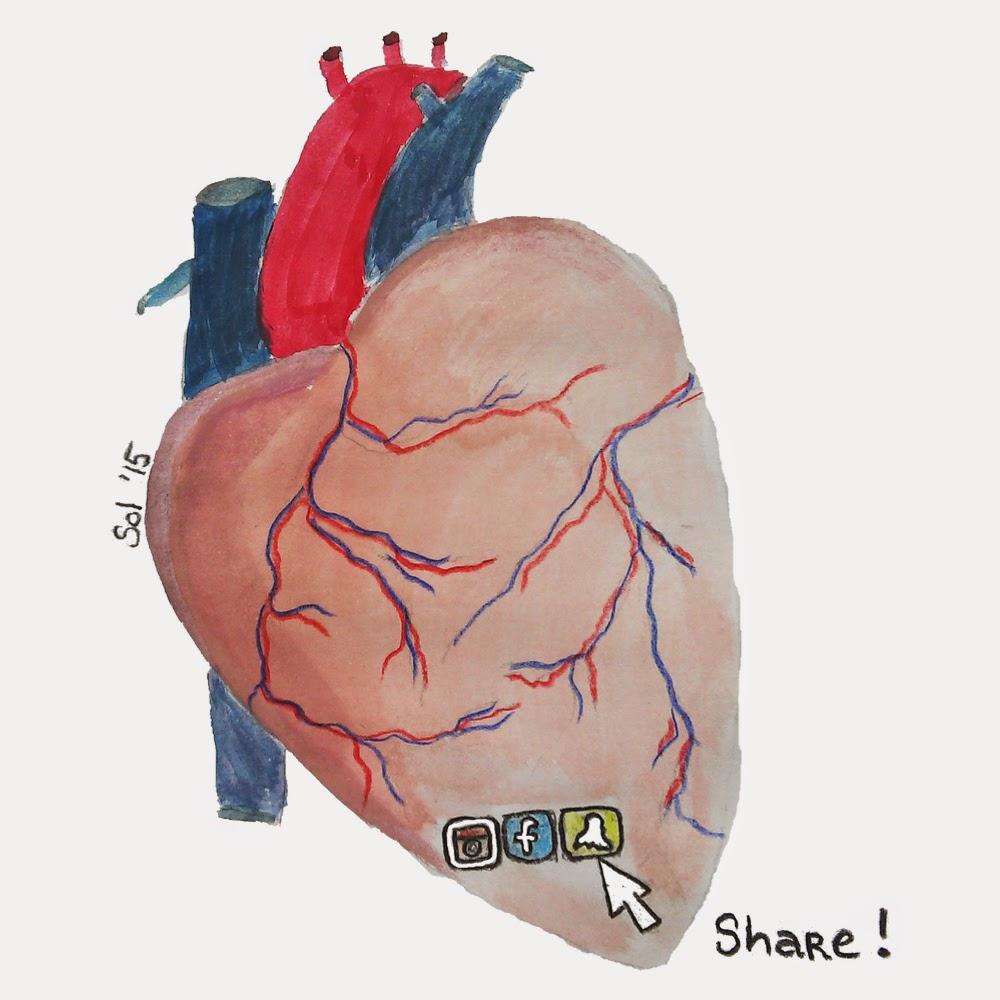 Partilhar o coração nas redes sociais