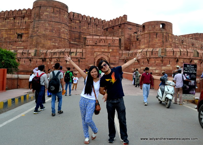 Ed and Lady at the Agra Fort in India