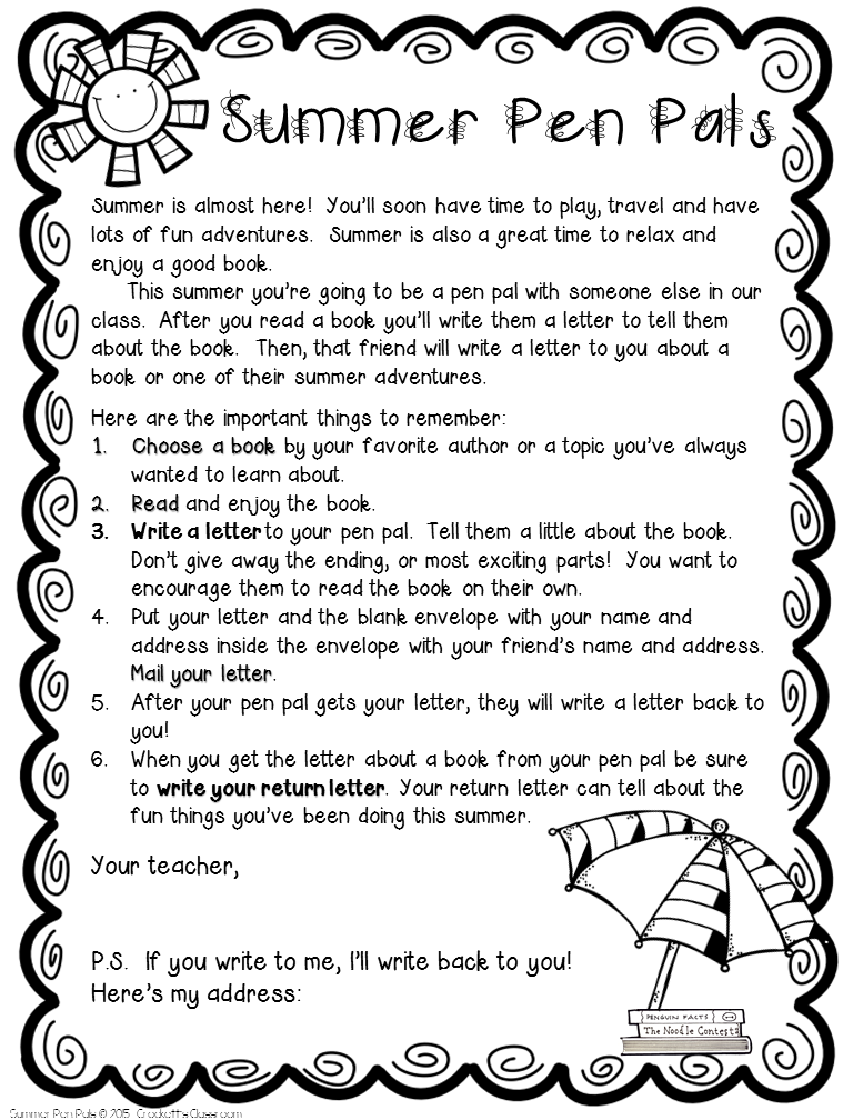 Summer Pen Pals--Crockett's Classroom