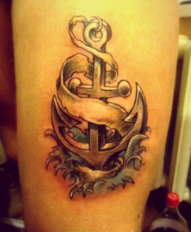 3d realistic anchor tattoo