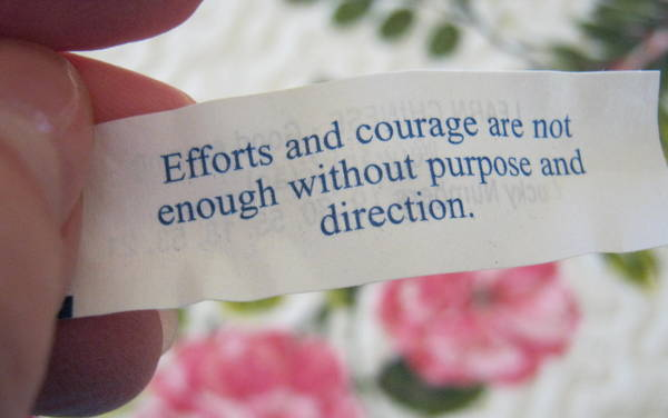 Wise advice from a fortune cookie on purpose and direction.