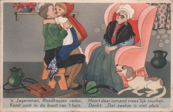 Dutch card of Red Riding Hood with grandmother after being rescued by her father
