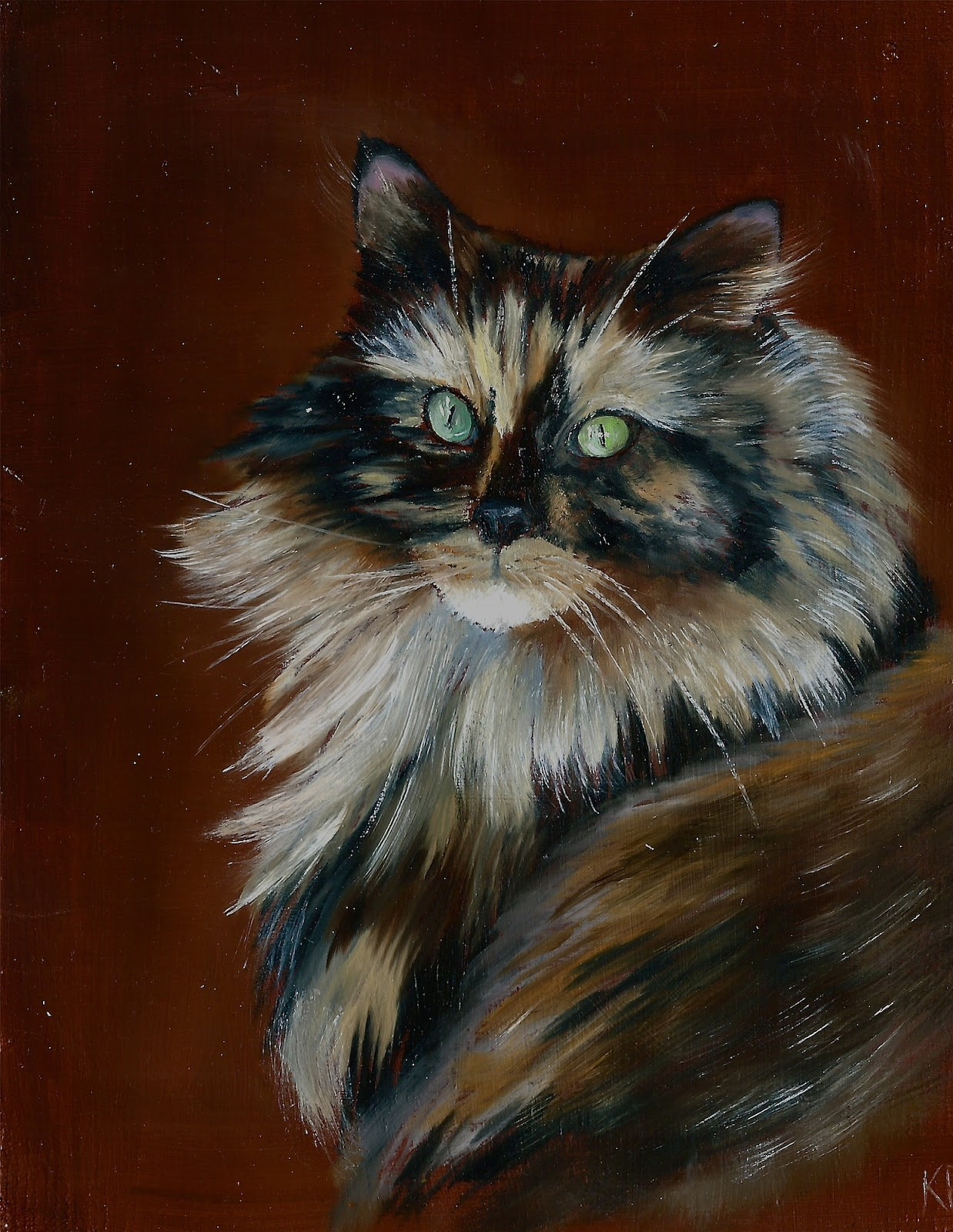 Oil painting of tortoiseshell cat pet portrait