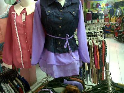 Model Kemeja Sifon Kombinasi Rompi Jeans Murah