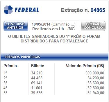 resultado loteria federal de 10 de maio de 2014