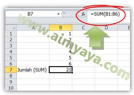 Gambar: Menjumlahkan bilangan dengan menggunakan fungsi SUM()